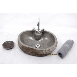 River Stone Sink With Faucet Hole