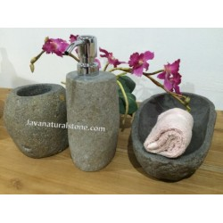 Set dispencher river stone java natural stone for German made bathroom accessories