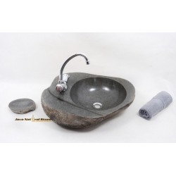 River Stone Sink Cylinder With Faucet Hole
