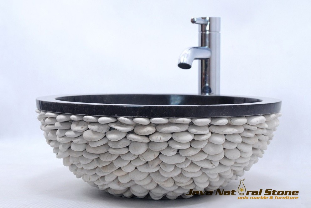 Sink Natural Stone combination with white pebble